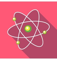 Atom with electrons icon in flat style vector