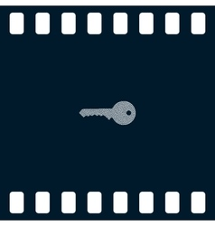 Flat paper cut style icon of an old key vector