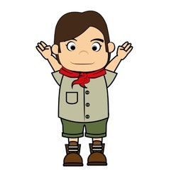 Scout boy cartoon icon vector