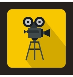 Old movie camera with reel icon flat style vector