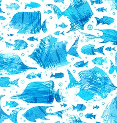 Blue watercolor seamless fish pattern vector