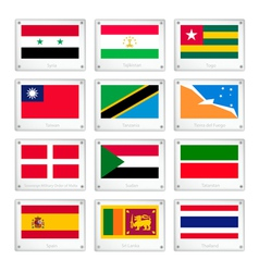 A set of countries flags on metal texture plates vector