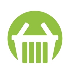 Basket shopping online symbol green circle vector