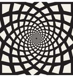 Black and White Spiral Rectangles Swirl vector image