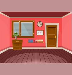 Cartoon flat interior office room in red blossom vector