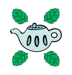 cartoon teapot with mint isolated on white vector image