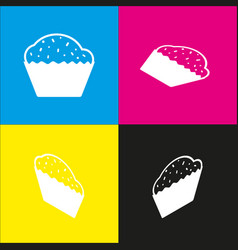 Cupcake sign white icon with isometric vector