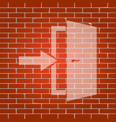 Door exit sign whitish icon on brick wall vector