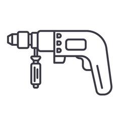 drilling machine line icon vector image