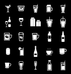 Drink icons on black background vector