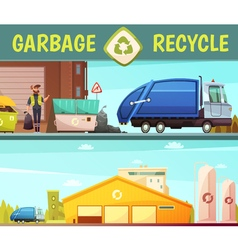 Garbage Recycling Company 2 Cartoon Banners vector image vector image