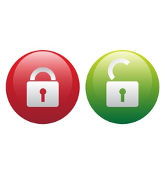 glassy lock and unlock icon set vector image vector image