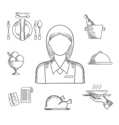 Hand drawn waitress and restaurant items vector