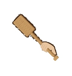 hand holding rowing wooden doodle vector image