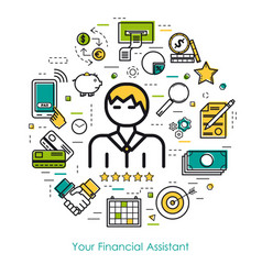 Line art concept - financial assistant vector