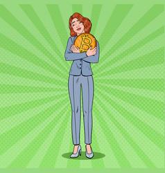 Pop art business woman holding big bitcoin coin vector