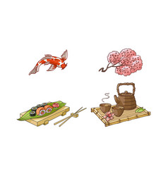 Sakura coi carp sushi tea ceremony set vector