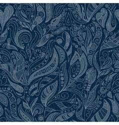 Seamless denim floral pattern vector