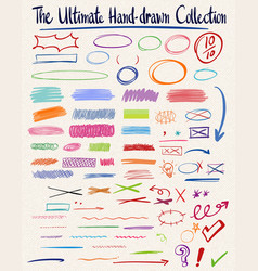 Set of ultimate hand-drawn collection vector