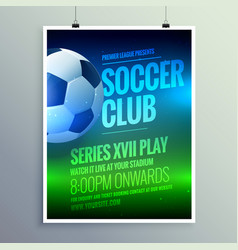 Soccer club brochure flyer design invitation vector