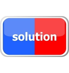 solution word on web button icon isolated vector image vector image