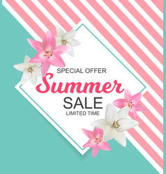 summer sale banner with lily flowers cute natural vector image vector image
