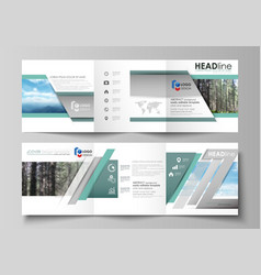 templates for tri fold square design brochures vector image vector image