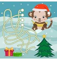 Year Of The Monkey Maze Game vector image