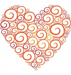 Heart shape swirl vector