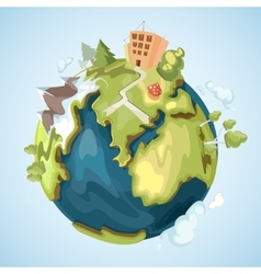 Earth planet with buildings trees mountains and vector