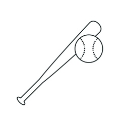 Bat and ball of baseball sport design vector