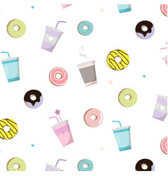 Coffee with donut tasty pattern snack vector
