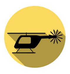 helicopter sign   flat black vector image