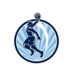 Basketball player dunk ball retro vector