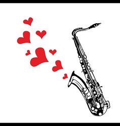 Heart love music saxophone playing a song for vale vector