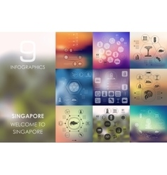 Singapore infographic with unfocused background vector