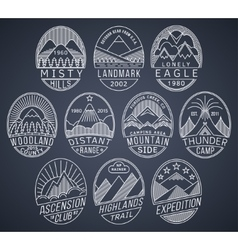 Mountain badges linear 2 white vector