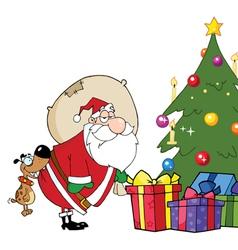 Dog Biting Santas Butt By A Christmas Tree vector image