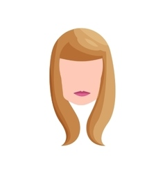 Girl with long blond hair icon cartoon style vector