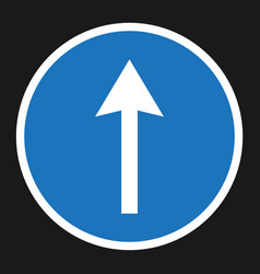ahead only and drive straight sign flat icon vector image