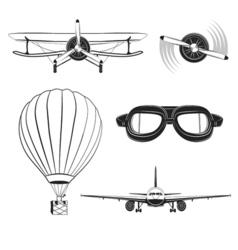Aircraft design elements set vector