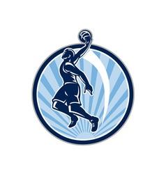Basketball player dunk ball retro vector