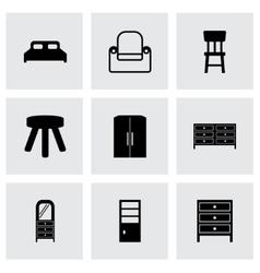 black furniture icons set vector image