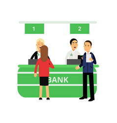 cheerful bank employees and clients at reception vector image