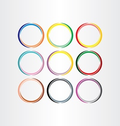 colorful circle frames set elements vector image