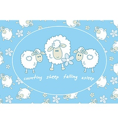 Counting sheep falling asleep vector