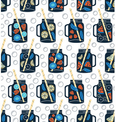Detox water in drinking jars seamless pattern vector
