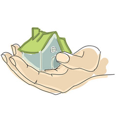 Drawn humans hand holding house with green roof vector
