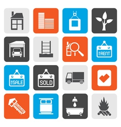 Flat Real Estate and building icons vector image vector image
