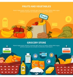 Fruits vegetables grocery supermarket banners vector